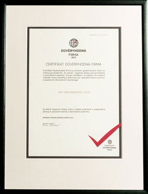 Certificate for Verified Companies 2015