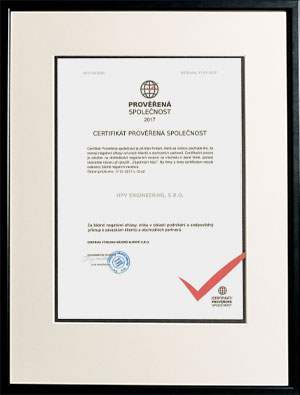 Certificate for Verified Companies 2017