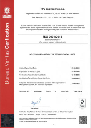 Quality system management certificate ISO 9001:2015