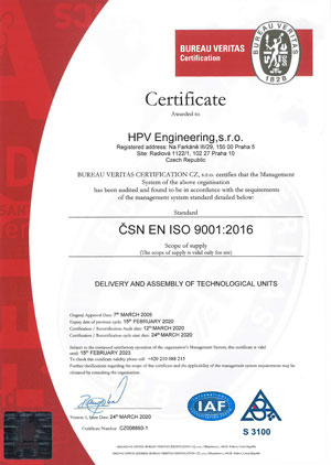 Quality system management certificate ISO 9001:2016